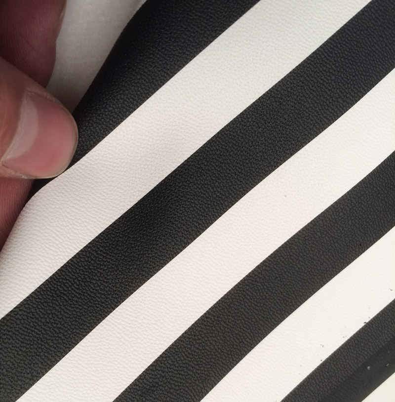 Synthetic PU Black And White Big Stripes Leather .