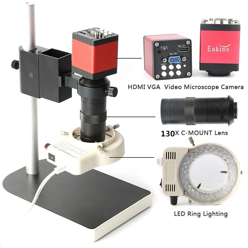 送料無料2 in 1デジタル工業用顕微鏡カメラHDMI VGA出力+ 130X Cマウントレンズ+56 LEDリングライト+スタンドホルダーeakinsмикроскоп