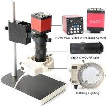 Наборы микроскопов HD 13MP 60F/S HDMI VGA промышленный микроскоп камера + 130X C крепление объектива + светодио дный 56 LED кольцо свет + подставка держатель