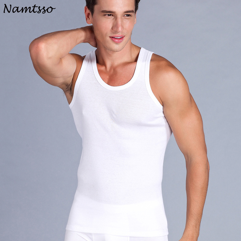 3 Pcs Men's Close-fitting Vest Fitness Elastic Casual O-neck Breathable H Type All Cotton Solid color Undershirts Male   Tanks
