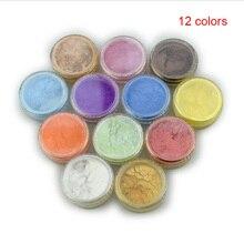 купить 12 Color Mica Pigment Powder for Soap Cosmetics Resin Colorant Dye Nail Art KG66 по цене 220.14 рублей