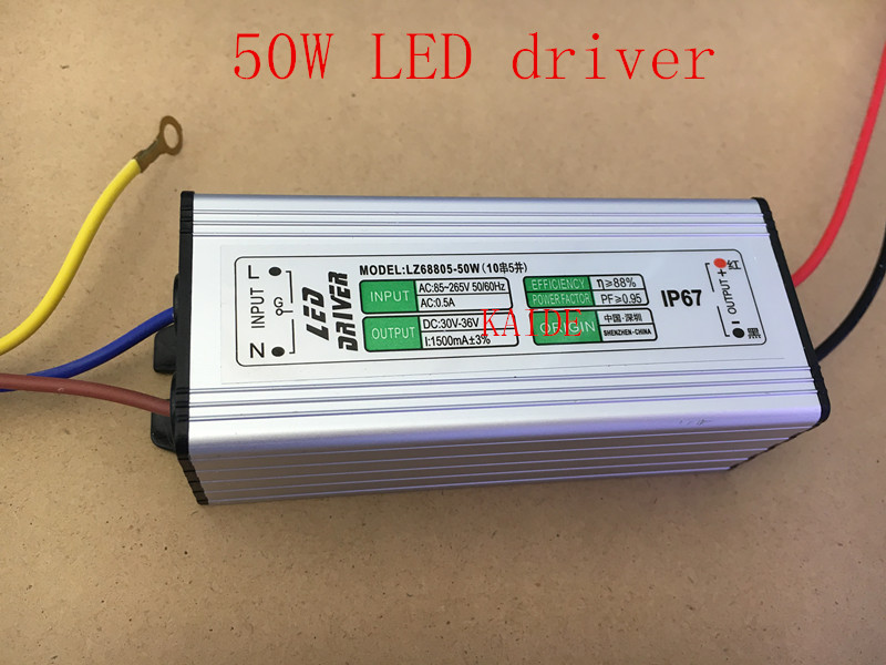 50w Led Driver AC85-265V Output 30-36V 1500ma PF>0.95 IP67 Led Floodlight Power Supply