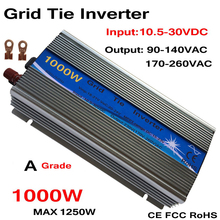 1000W Grid Tie Inverter MPPT Function 10.5-30VDC input 110V 230VAC Micro Grid Tie Pure Sine Wave Inverter 24V 18V to 110V 220V 800w grid tie micro inverter for 18v solar panel or 24v battery 10 5 28v dc to ac 110v 220v pure sine wave solar inverter