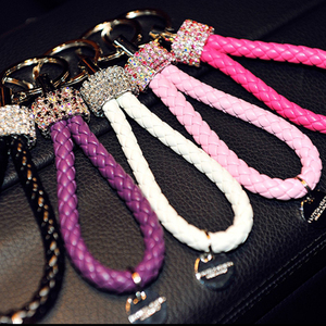 Image 5 - 1Pcs Universal Crystal Keychain Creative DIY New Luxury Key Chain Wallet Messenger Bag Backpack Pendant with 6 Colors