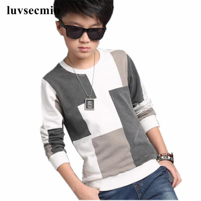 a32ccca31 2019 Fashion Teenage Autumn Spring T-Shirt Boy Shirts Kids Child Boys T  Shirts Long Sleeve Patckwork Baby Clothes Tops JW2055