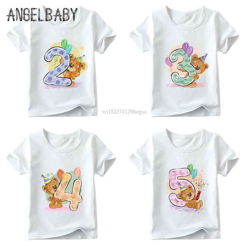 Girls Birthday Bear Number 1-9 Bow Print T Shirt Baby Summer T-shirt,Kids Cartoon Winnie Birthday Present Cute Clothes,ooo5237