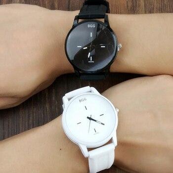 b5adaefeed227 Классические черные и белые силиконовые кварцевые часы BGG Брендовые женские  наручные часы для влюбленных желе повседневные часы женские пр.