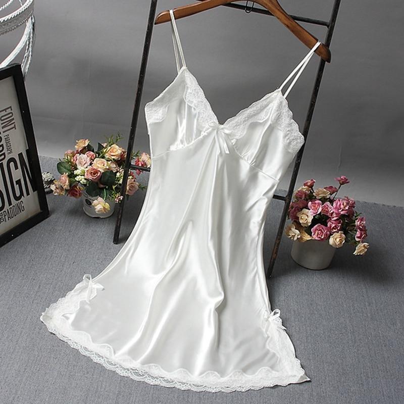 Sexy Women Nightgown Hot Nightwear Sexi Slits Nightdress Nightie Vintage home Sleepwear Female Pijama White black Dress 2