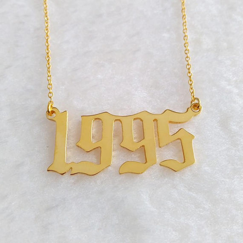 necklace gold item vertical gift out cut color numeral roman anniversary date wedding