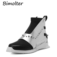 Bimolter NEW Genuine Leather boots Round toe heels Rivet Buckle straps British style European ankle Motorcycle Boots NB082