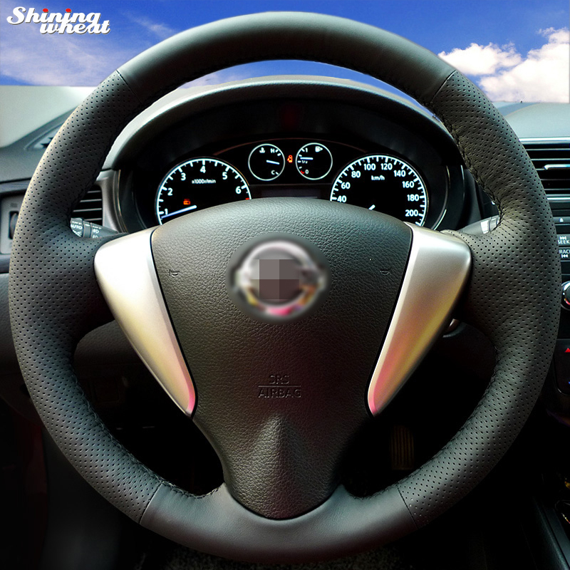 Shining wheat Hand stitched Black Leather Steering Wheel Cover for Nissan Tiida Sylphy Sentra 2014 Note