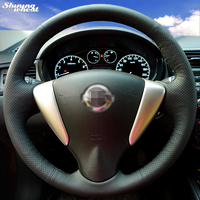 Shining wheat Hand-stitched Black Leather Steering Wheel Cover for Nissan Tiida Sylphy Sentra 2014 Note