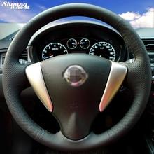 Luminoso Cubierta Del Volante de Cuero cosido A Mano Negro de trigo para Nissan Tiida Sylphy Sentra 2014 Nota