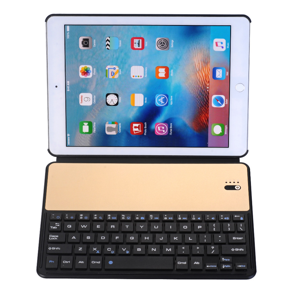 Russian/Hebrew/Spanish Wireless Bluetooth Metal Alloy Keyboard Stand Leather Funda Case For Apple iPad 9.7 2017/Pro 9.7/Air/Air2 removable wireless bluetooth russian hebrew spanish keyboard stand pu leather case for samsung galaxy tab a 9 7 t555 t551 t550