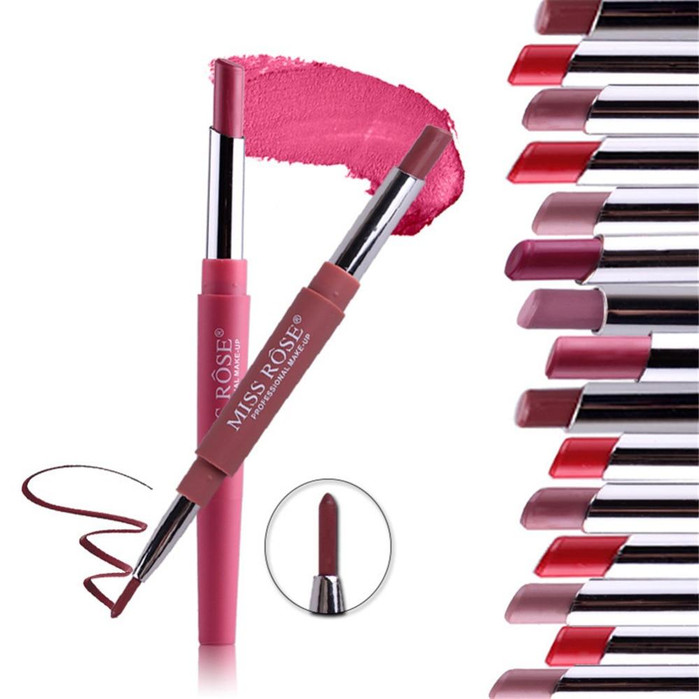 2 em 1 Fosco Delineador de Lábios Lipliner Lápis + Caneta Batom Caneta Batom Maquiagem À Prova D' Água de Longa Duração Multi-Funcional ferramenta de cosméticos