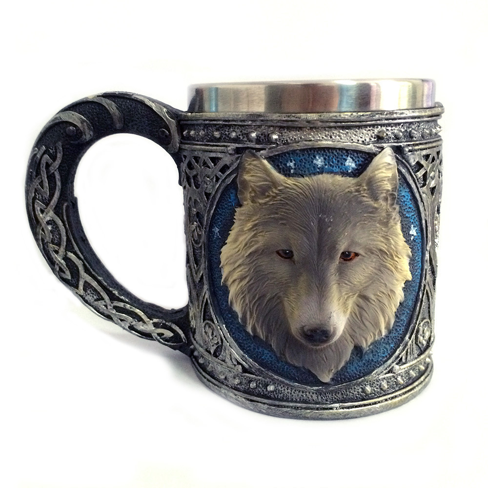 New 3D Wolf Coffee Mug Cool Resin Stainless Steel Drinkware Hand Grip Copo Game Of Thrones Wine Cup taza de m&m