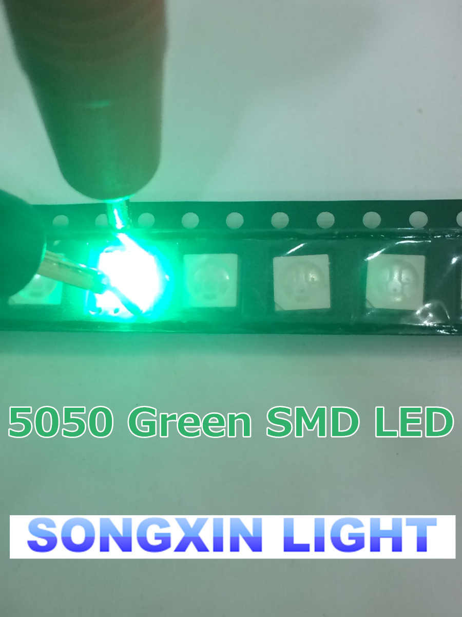 500 шт. 5050 SMD Зеленый PLCC-6 3-CHIPS 9000 MCD ультра яркий светодиодный высококачественный светоизлучающий диоды 5050 зеленый светодиодный 5050 Диоды