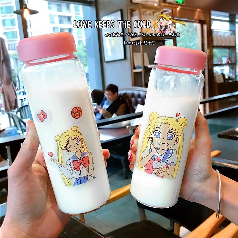 Summer Lovely Cartoon Beautiful Girl Soldier Sailor Moon Student Sealing-Up Portable Delicate Glass Drink Cup with glass wrapper Солдат