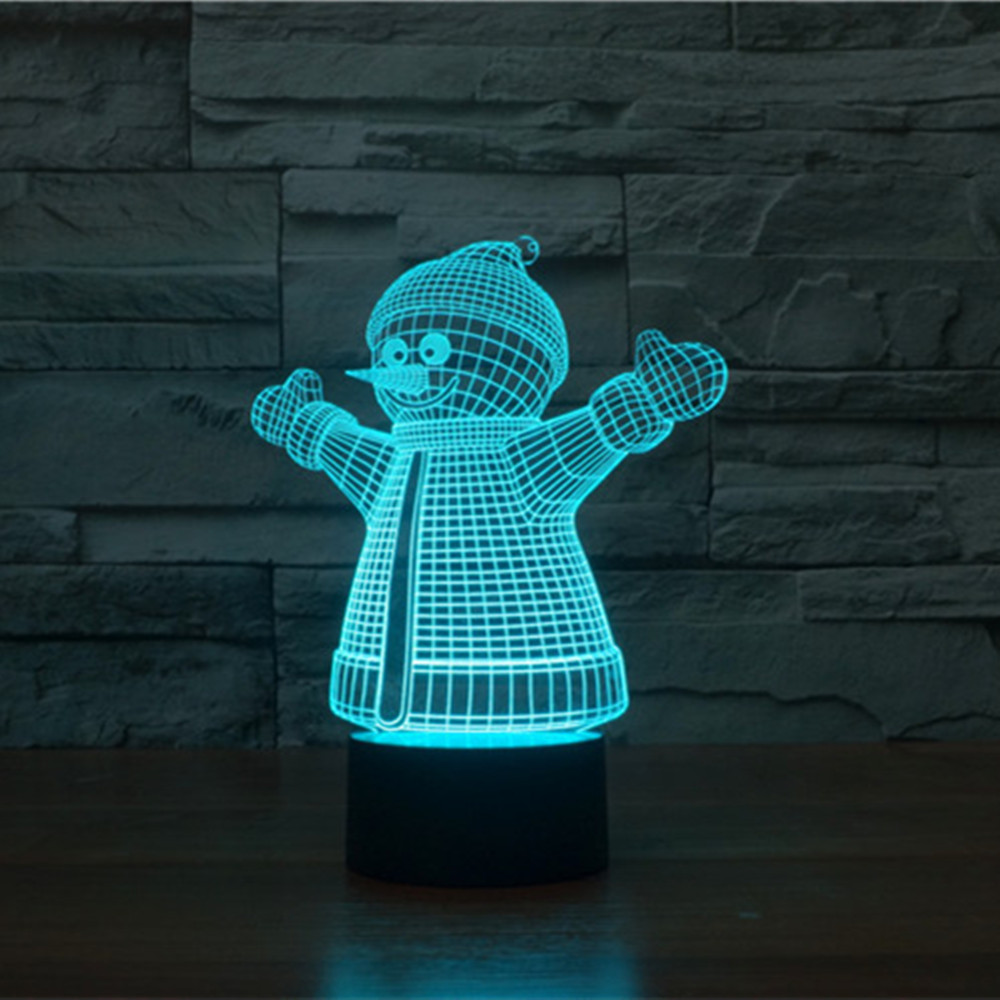 Snowman Shaped Christmas Night Light 3D Visual illusion lamp Luminaria de mesa Lampe de table Emergency Lights Lamparas Lampen 3d christmas snowman shape touch colorful night light