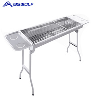 BSWolf Portable Outdoor BBQ Oven 430 Stainless Steel Camping Picnic Folding Grill Stove Rack Charcoal Barbecue Home Cooking Tool