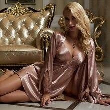 Silk Robe Sets Female Silky Faux Sleepwear Woman Sexy Lace Embroidery Bathrobes Nightdress Two-Piece X8207