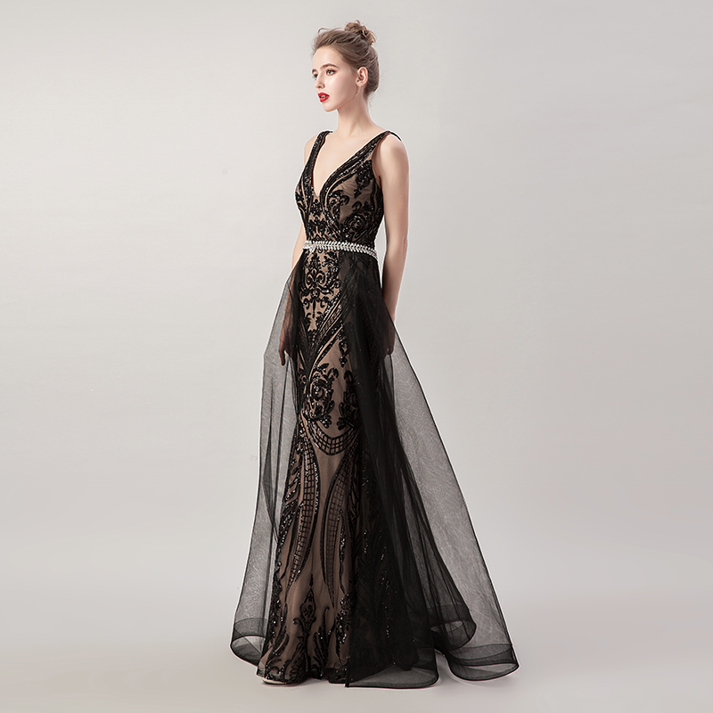 Beading Black Long Mermaid Evening Dresses with Detachable Tulle Skirt Sequin Sexy V neck Criss Cross Backless Prom Gowns L5265-in Evening Dresses from Weddings & Events    2