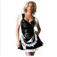 Punk Gothic Fetish Leather Sirvienta disfraces Cosplay Sexy 100% Vestido DE Encaje Del PVC Catsuit de Látex De Halloween Enfermera de la Ropa Interior S-XXL