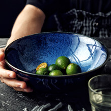 Bol à nouilles japonais en céramique, bol à riz, grand bol à soupe pour Ramen, Restaurant familial, salade de fruits, nouilles instantanées