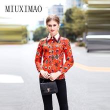 2018 ostatnie najlepsza jakość w stylu Vintage bluzka kobiety pełna rękaw skręcić w dół kołnierz kwiatowy drukowane koszula na co dzień eleganckie stylowe topy tanie tanio MIUXIMAO Floral Suknem COTTON Poliester NONE 32217 REGULAR
