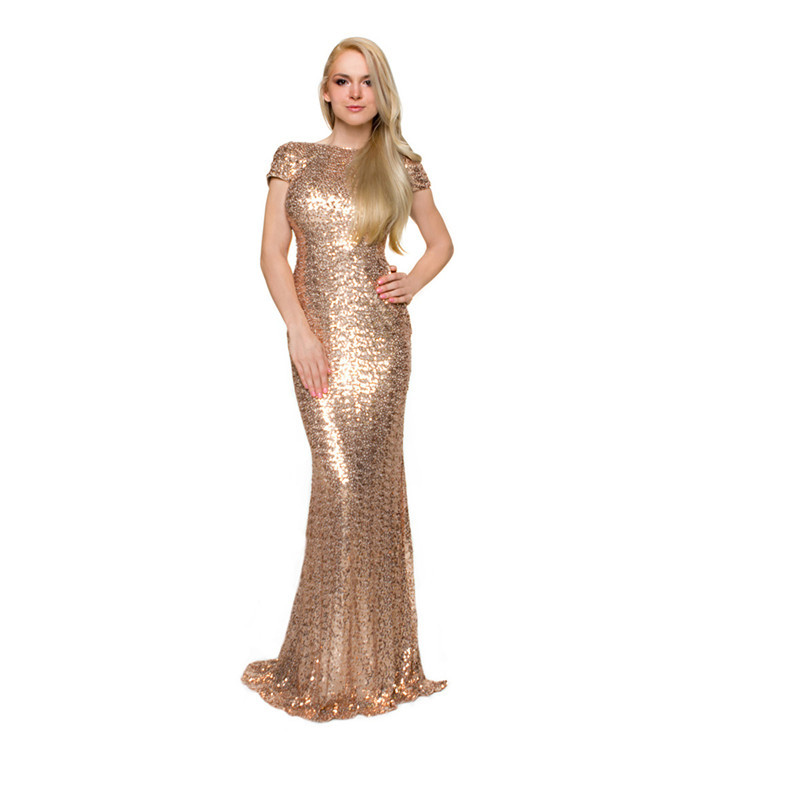 Plus Size Maid of Honor Dresses Sheath Gold Sequin ...
