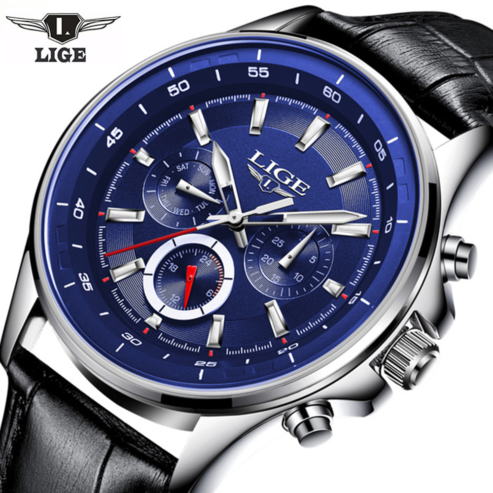 <font><b>LIGE</b></font> Brand hot men's wrist watches quartz Leather watch men Multifunction sports watch male Clock Causal man Relogio Masculino image