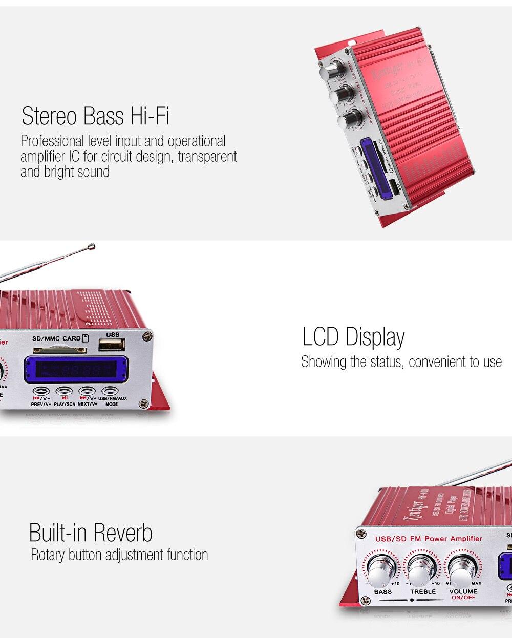 Хы - 400 стерео супер бас аудио цифровой плеер Привет-Fi автомобильный усилитель мощности с FM ЖК-дисплей поддержка USB / памяти SD / MP3 дистанционного управления