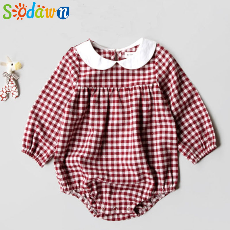 So dawn Spring Autumn Baby Girls Clothes Cute New Printed Cotton Triangle Jumper Girl Long Sleeve Jumpsuit Infants Clothes