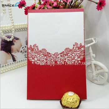 50pcs Free Shipping laser cut pocket style flowers design Paper Wedding Party Invitation Cards with inner Blank paper