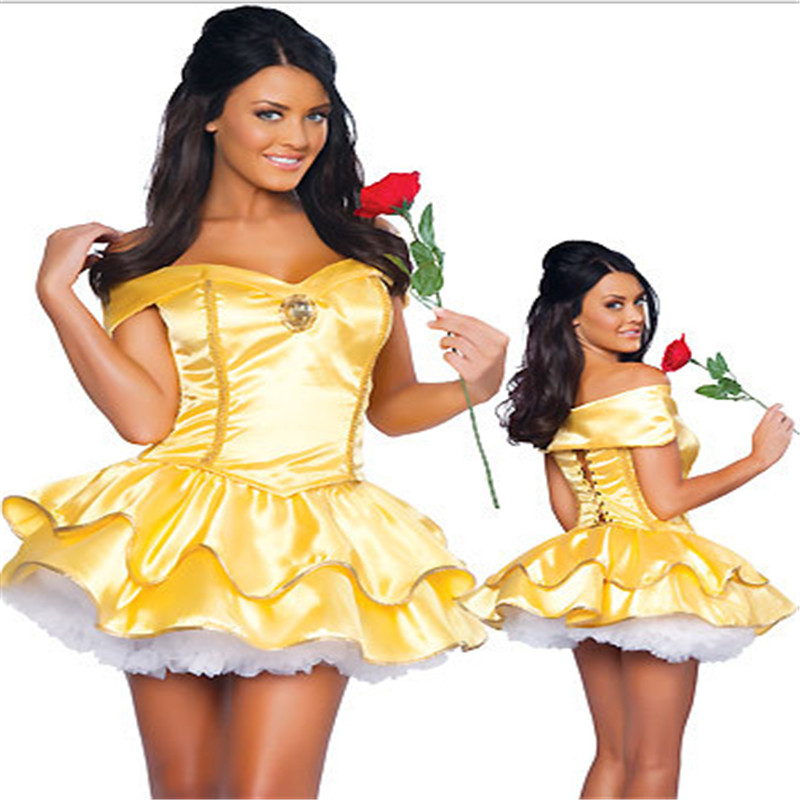 2016 latest plus size high quality adult snow white princess belle halloween costume with underskirt sexy - High Quality Womens Halloween Costumes