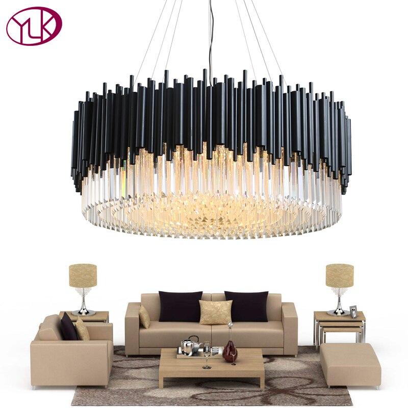Youlaike Black Round Chandelier Lighting Luxury Modern LED Crystal Lamp Living Room Stainless Steel Hanglamp Cristal