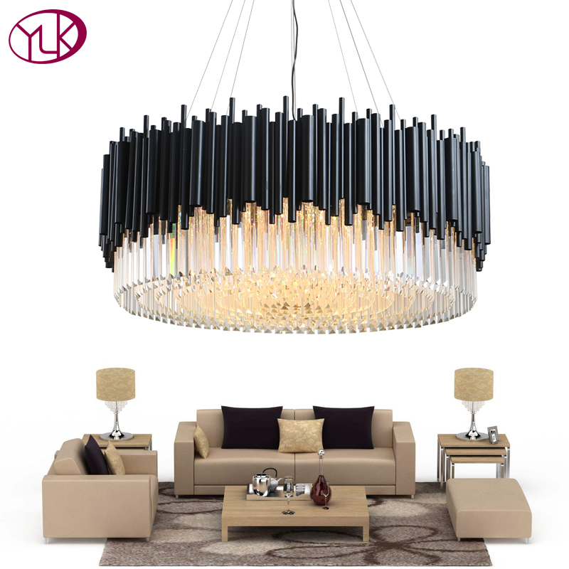 Youlaike Modern Crystal Chandelier Luxury Black Hanging Led Res De Cristal Living Dining Room Lighting Fixtures Home Lamps