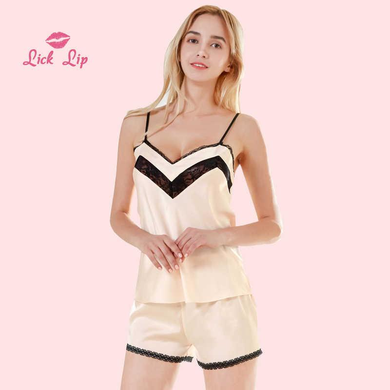 96fcab2082 Lick Lip Sexy Spaghetti Straps Pajamas Sets Women 4 Color Summer Lace  Patchwork Pyjama Set Silk