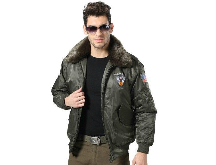 Men United States Army aviator jacket flight jackets N3 detachable fur collar cotton padded jaqueta fashion military uniform - Anna's holiday store