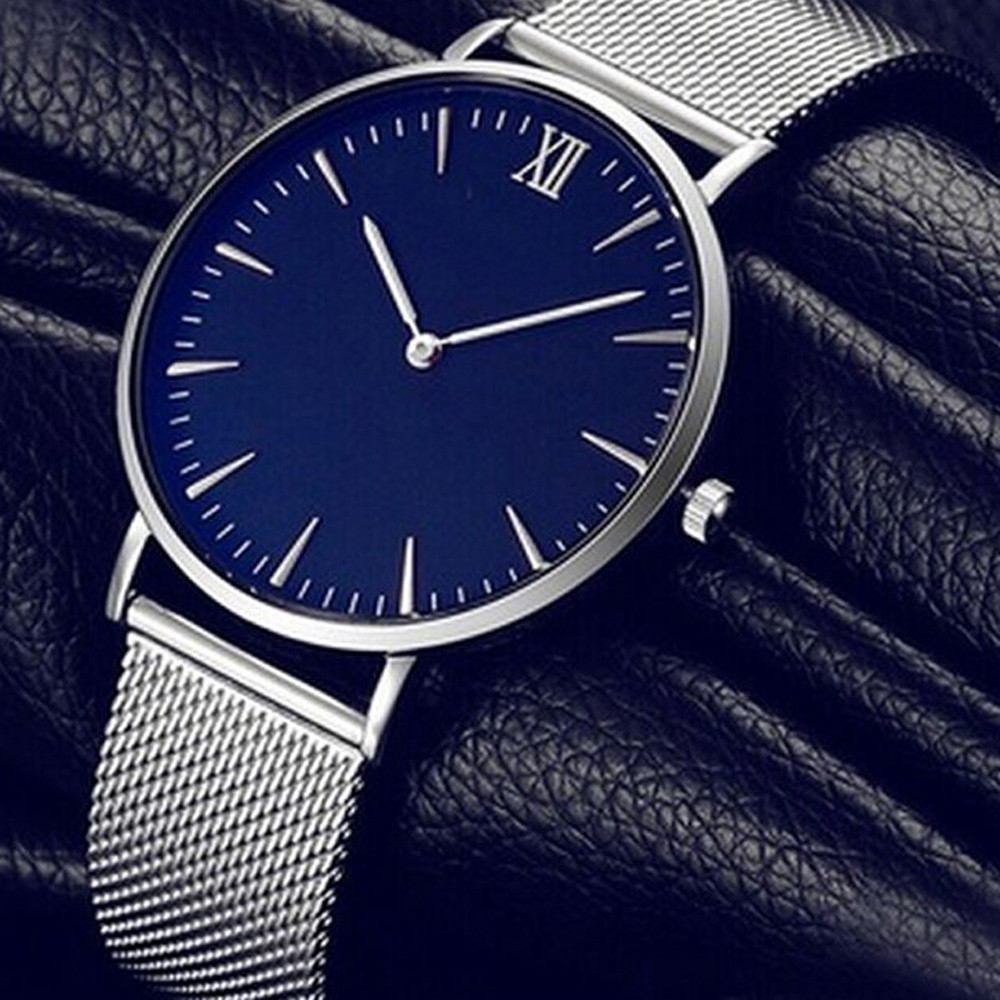 Drop Shipping  Blue Dial Watches Women Clock Top Brand Luxury Stainless Steel Mesh Band Ultra Thin Watch Montre Femme Bayan 2019