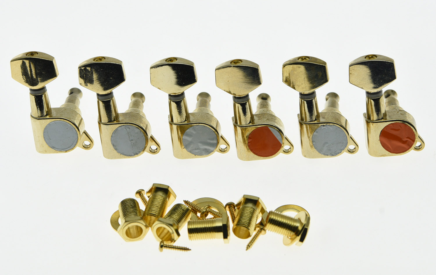 Gold 6 Inline Guitar Tuners Guitar Tuning Keys Pegs Machine Heads a set chrome sealed gear tuning pegs machine heads tuners for guitar with black big square wood texture buttons