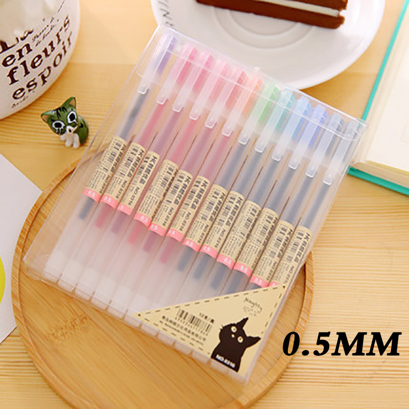 12 Pcs/lot Gel Pen 0.5mm Colour Ink Pen Maker Pen School Office Supply Muji Style for Office School Supplies Writing Paper цена