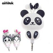 Aimitek Cute Earphones Cartoon Panda Cheese Cat Chi's Sweet Home Earbuds Automatic Retractable