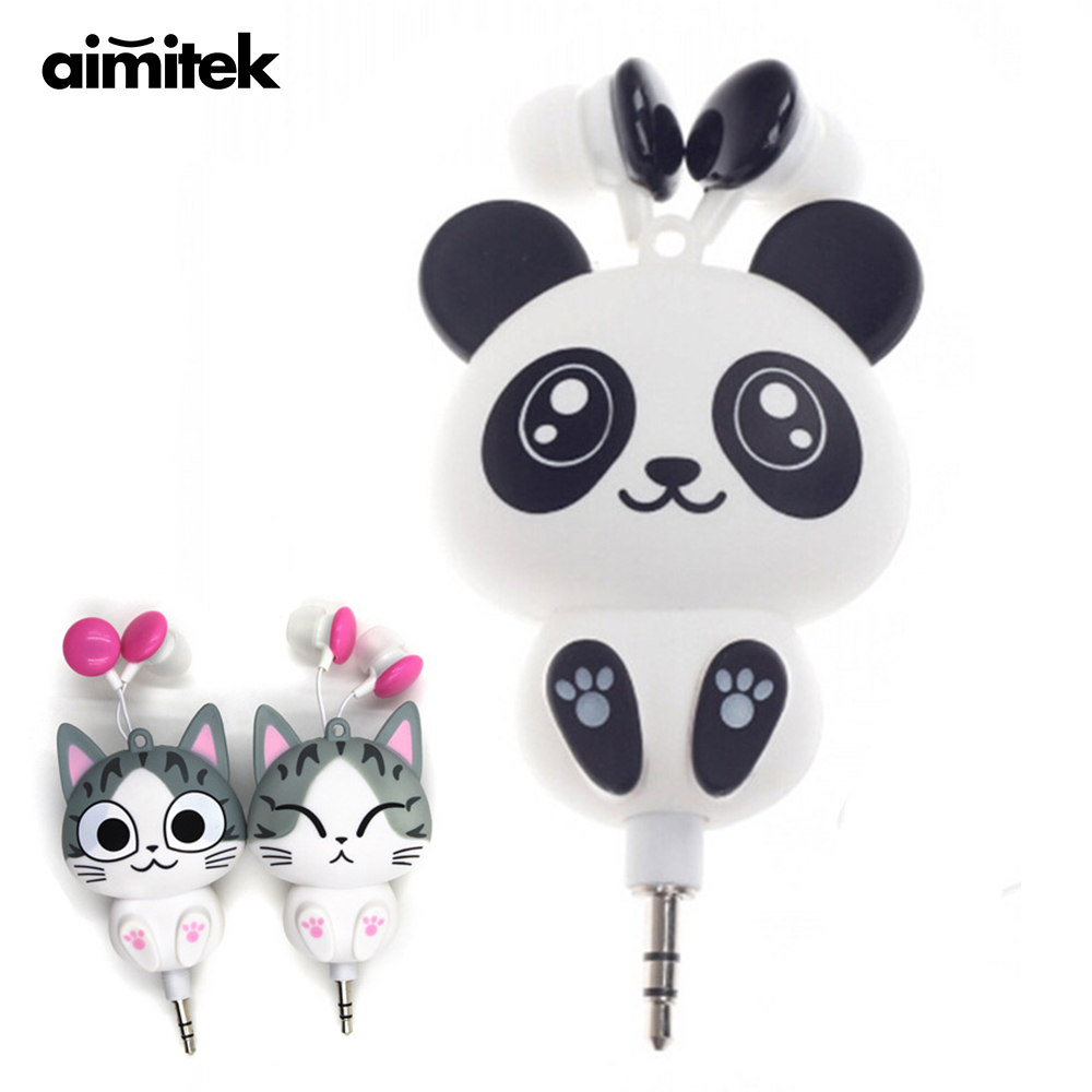Aimitek Cute Earphones Cartoon Panda Cheese Cat Chi's Sweet Home Earbuds Automatic Retractable Hifi Headsets for iPhone Android
