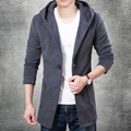 2015 New Arrival Winter Hooded Woolen Trench Coat Men Medium-long Trench Coat Slim Fitted Single Breasted Overcoat with Hoody