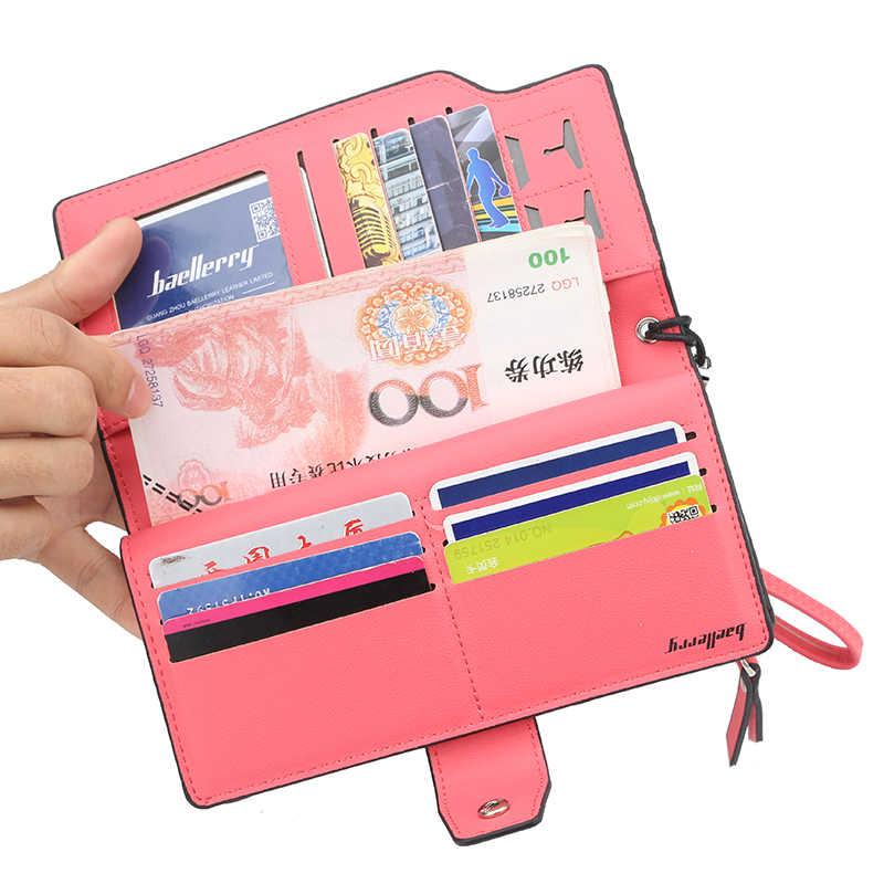 Известный бренд женский кошелек из искусственной кожи Длинный клатч кошельки для женщин держатель для карт с застежкой на молнии с карманом для монет двойные женские сумочки