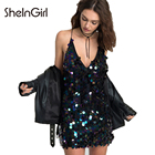 Save 11.52 on SheInGirl 2017 Sequin Dress Women Punk Purple Spaghetti Strap Bodycon Mini Dress Deep V Neck Sleeveless Backless Sexy Dress