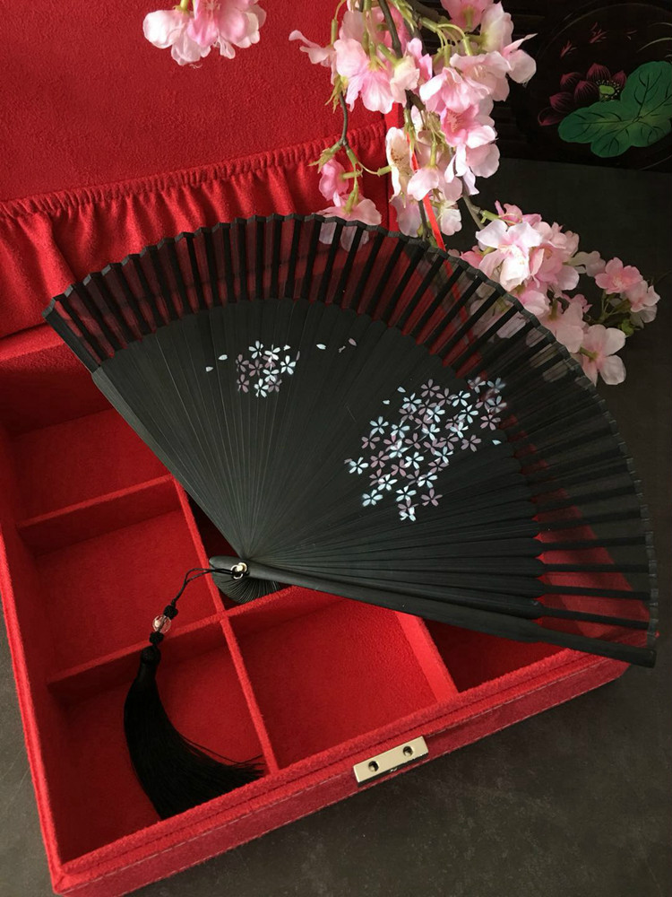 1pc Japanese Style Ladies Folding Fan Bamboo Handle Real Silk Hand Fan Vintage Classical Mini Cats Cherry Blossom Fan|Decorative Fans| |  - title=