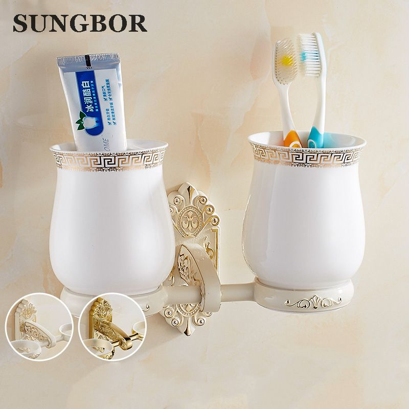 Luxury Antique Brass Cup & Cup Holder Brass Wall Mounted Toothbrush Double Cup Holder Bathroom Accessories SL-5103H new bathroom antique double tumbler cup holder toothbrush holder bathroom accessory sanitary ware bathroom furniture sl 7808