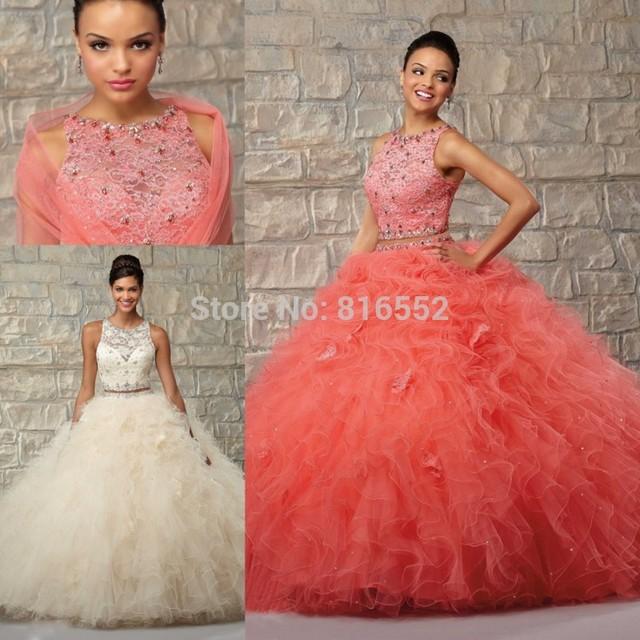 2017 nueva sexy de encaje vestidos de quinceañera vestidos de bola con cuentas scoop ruffles apliques cremallera sweet 16 vestidos vestido de 15 anos qa382